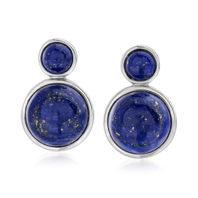 Lapis Drop Earrings in Sterling Silver