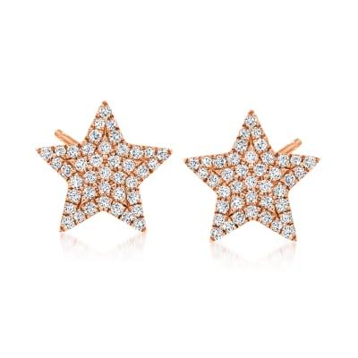 .22 ct. t.w. Diamond Star Stud Earrings in 14kt Rose Gold