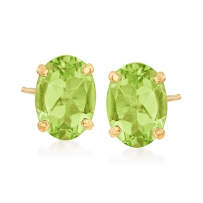1.70 ct. t.w. Peridot Oval Stud Earrings in 14kt Yellow Gold