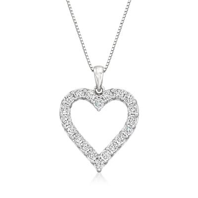 .50 ct. t.w. Diamond Open-Space Heart Pendant Necklace in Sterling Silver