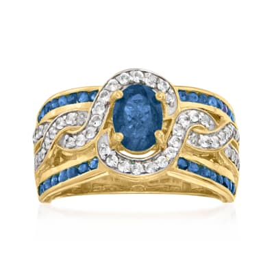 1.65 ct. t.w. Sapphire and .45 ct. t.w. White Zircon Ring in 18kt Gold Over Sterling