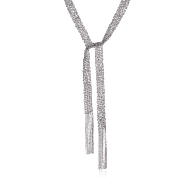 Italian Sterling Silver Mesh Tie Necklace
