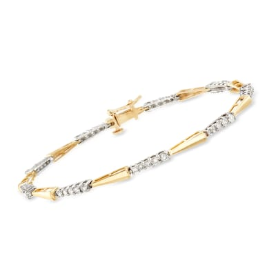 1.00 ct. t.w. Diamond Arrow-Shape 14kt Two-Tone Gold Bracelet