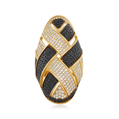 2.72 ct. t.w. Black and White CZ Woven Ring in 18kt Gold Over Sterling