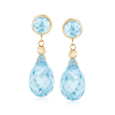 14.00 ct. t.w. Sky Blue Topaz Drop Earrings in 14kt Yellow Gold