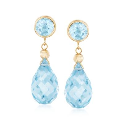 14.00 ct. t.w. Sky Blue Topaz Drop Earrings in 14kt Yellow Gold