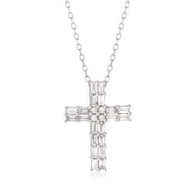 .50 ct. t.w. Baguette and Round Diamond Cross Necklace in 14kt White Gold