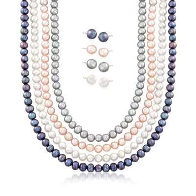 5-7mm Multicolored Cultured Pearl Jewelry Set: Four Necklaces and Four Pairs of Stud Earrings in Sterling
