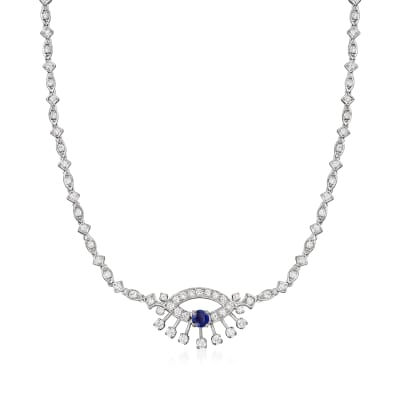 C. 1980 Vintage 4.00 ct. t.w. Diamond and .75 Carat Sapphire Eye Necklace in Platinum