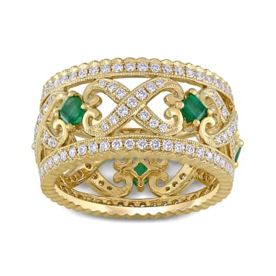 .93 ct. t.w. Diamond and .40 ct. t.w. Emerald Ring in 14kt Yellow Gold