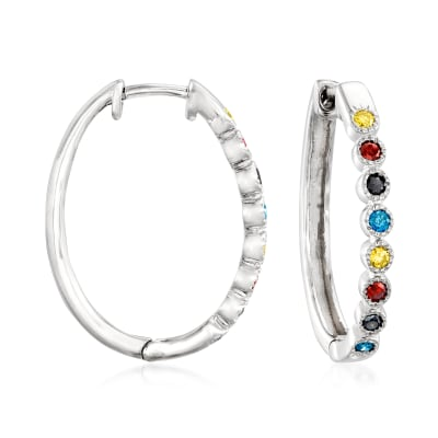 .50 ct. t.w. Multicolored Diamond Hoop Earrings in Sterling Silver