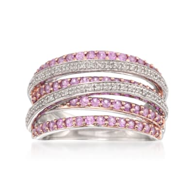 1.00 ct. t.w. Pink Sapphire and .15 ct. t.w. Diamond Highway Ring in Sterling Silver