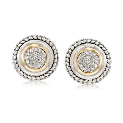 .60 ct. t.w. Pave White Zircon Earrings in 14kt Yellow Gold and Sterling Silver