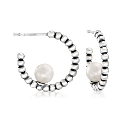 6-6.5mm Cultured Pearl and Sterling Silver Hoop Earrings