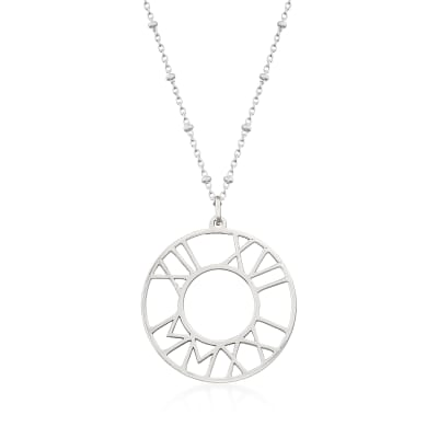 Sterling Silver Personalized Roman Numeral Disc Pendant Necklace