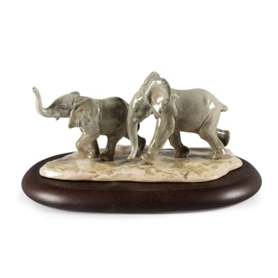 "Lladro ""Following the Path"" Elephant Porcelain Figurine"