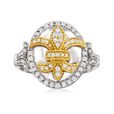 .50 ct. t.w. Diamond Fleur-De-Lis Ring in Sterling Silver and 14kt Yellow Gold