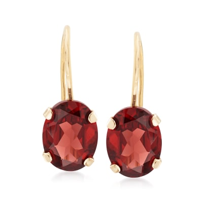 3.00 ct. t.w. Garnet Drop Earrings in 14kt Yellow Gold
