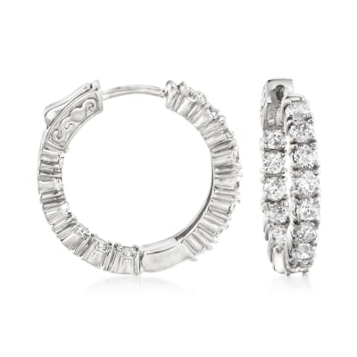 3.00 ct. t.w. CZ Inside-Outside Hoop Earrings in Sterling Silver