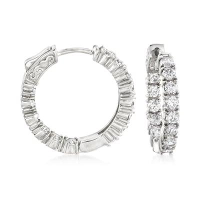 3.00 ct. t.w. CZ Inside-Outside Hoop Earrings in Sterling Silver