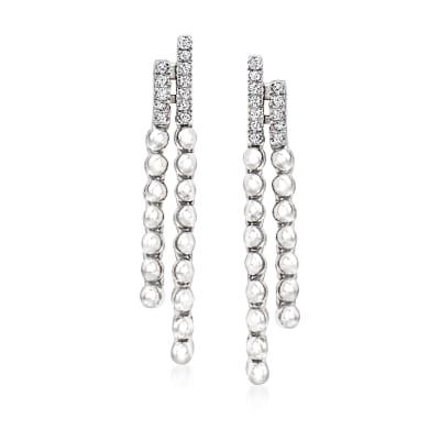 .10 ct. t.w. Diamond Beaded Drop Earrings in Sterling Silver