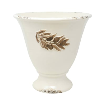 "Vietri ""Rustic Garden"" Olives Linen Tall Planter from Italy"