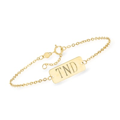 Italian 14kt Yellow Gold Monogram Bar ID Bracelet