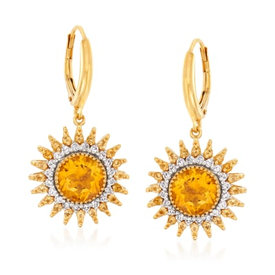 3.90 ct. t.w. Citrine and .50 ct. t.w. Diamond Sun Drop Earrings in 18kt Gold Over Sterling