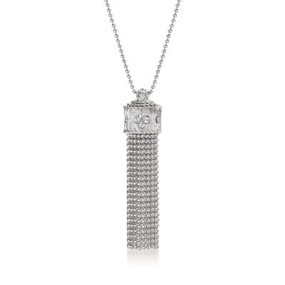 "Roberto Coin ""Princess"" .18 ct. t.w. Diamond Tassel Necklace in 18kt White Gold"