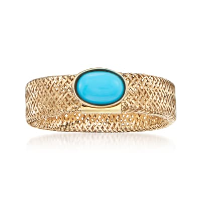Italian Turquoise Mesh Ring in 14kt Yellow Gold
