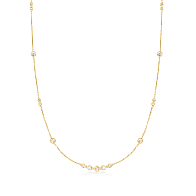 1.30 ct. t.w. CZ Station Necklace in 18kt Gold Over Sterling
