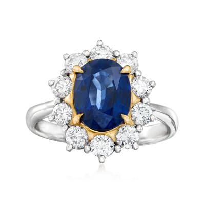 C. 1980 Vintage 2.51 Carat Sapphire and .94 ct. t.w. Diamond Ring in Platinum and 18kt Yellow Gold