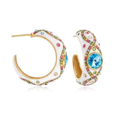 Multicolored Crystal and Blue Swarovski Crystal Hoop Earrings with White Enamel in 18kt Gold Over Sterling