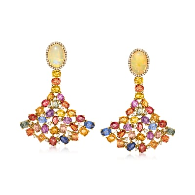 Opal and 20.00 ct. t.w. Multicolored Sapphire Fan Earrings with .80 ct. t.w. Diamond in 18kt Yellow Gold