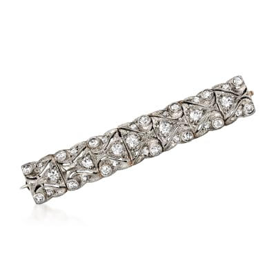 C. 1950 Vintage .70 ct. t.w. Diamond Bar Pin in Platinum