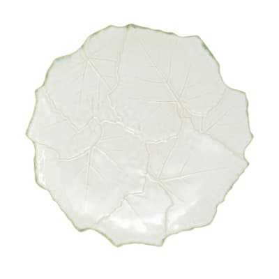"Vietri ""Foglia"" White Cheese/Tart Plate from Italy"