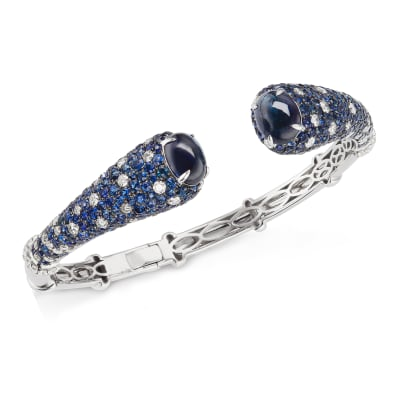 12.25 ct. t.w. Sapphire and 2.20 ct. t.w. Diamond Cuff Bangle Bracelet in 18kt White Gold