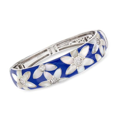 "Belle Etoile ""Moonflower"" Blue Enamel and Mother-Of-Pearl Bangle Bracelet with .48 ct. t.w. CZ in Sterling Silver"