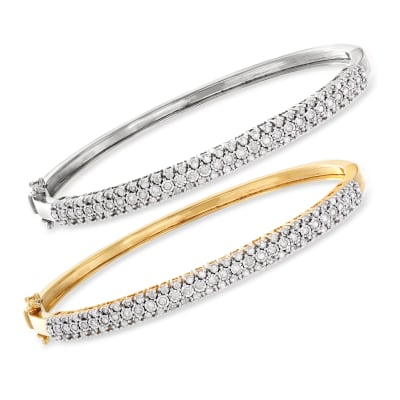 1.50 ct. t.w. Diamond Jewelry Set: Two Bangle Bracelets in Sterling Silver and 18kt Gold Over Sterling