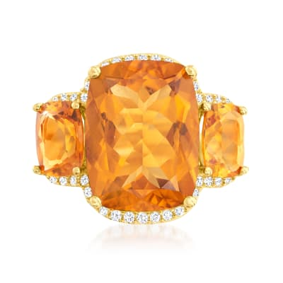 15.20 ct. t.w. Madeira Citrine Three-Stone Ring with .70 ct. t.w. White Zircon in 18kt Gold Over Sterling