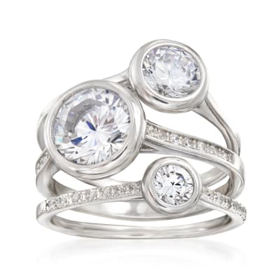 3.25 ct. t.w. CZ Jewelry Set: Three Stackable Bezel Rings in Sterling Silver