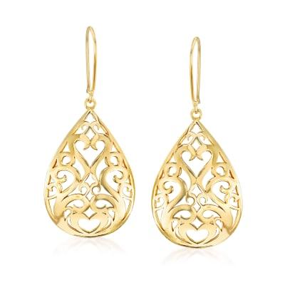 18kt Gold Over Sterling Openwork Teardrop Earrings