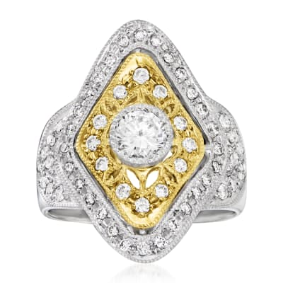 C. 1990 Vintage 1.12 ct. t.w. Diamond Cocktail Ring in Platinum and 18kt Yellow Gold