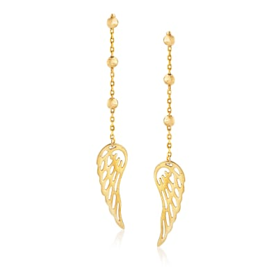 14kt Yellow Gold Cut-Out Angel Wing Drop Earrings