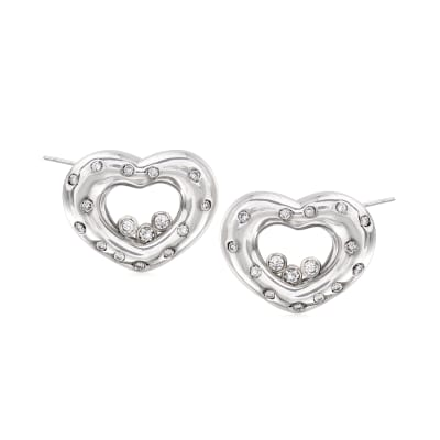 C. 1990 Vintage Chopard .50 ct. t.w. Diamond Heart Earrings in 18kt White Gold