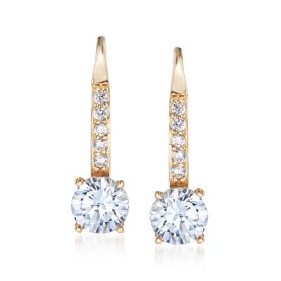 1.10 ct. t.w. CZ Drop Hoop Earrings in 14kt Yellow Gold