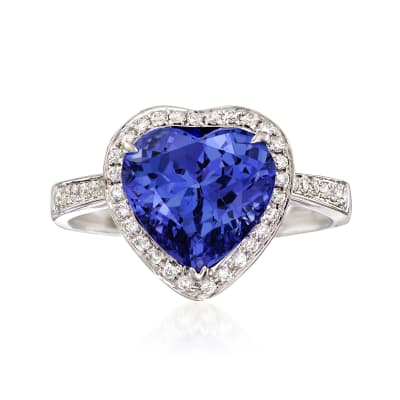 3.50 Carat Tanzanite and .23 ct. t.w. Diamond Heart Ring in 14kt White Gold