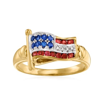 .20 ct. t.w. Ruby and .10 ct. t.w. Sapphire Flag Ring with Diamond Accents in 18kt Gold Over Sterling