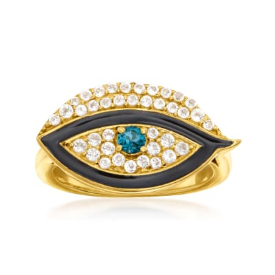 .60 ct. t.w. London Blue and White Topaz Evil Eye Ring in 18kt Gold Over Sterling