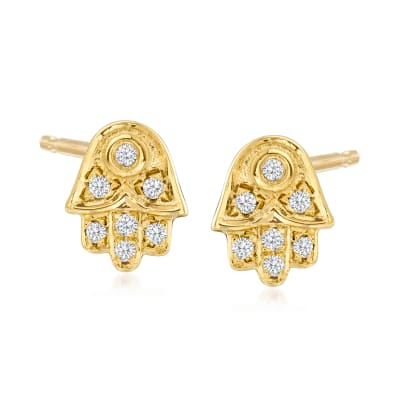 .10 ct. t.w. Diamond Hamsa Hand Stud Earrings in 18kt Gold Over Sterling